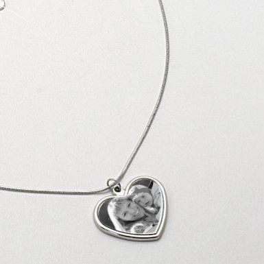 Heart Memorial Necklace with Photo & Engraving | Someone Remembered